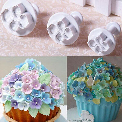 New Cake Decorating Icing Plunger Mold Hot Hydrangea Flower Mould 3 pcs Cutters