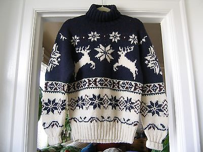 Vintage Ralph Lauren Mens Polo Wool Snowflake Reindeer Turtle Neck Sweater, M