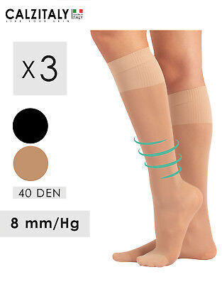 3 Paia Gambaletti Donna Riposanti,Calze Compressione Media,40 DEN, Made in Italy