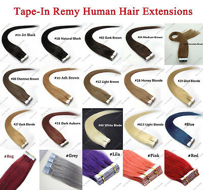 """6A Quality 14""""-24"""" Skin Glue Tape-in 100% Premium Remy Human Hair Extensions UK"""