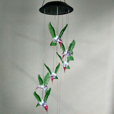 Solar Color LED Hummingbird Wind Chimes Light Lamp Garden Home Decor