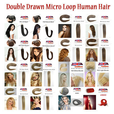7A Quality 16''-22'' 1g/s Double Drawn Ombre/Mixed Micro Loop 100% Real Hair UK