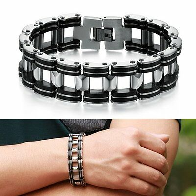 AU Men Women Silver Cross Stainless Steel Black Rubber Bracelet Bangle Wristband
