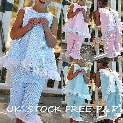 UK Summer 2PCS Kids Baby Girls Bow Vest Tops Shirt+Shorts Pants Clothes Outfits