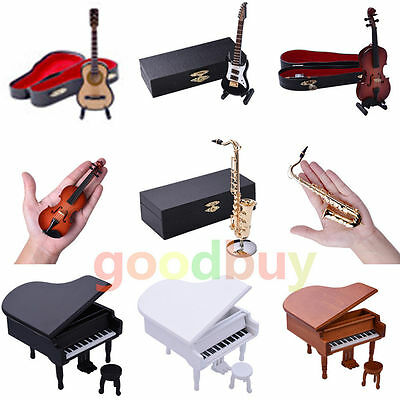 Mini Toy Dollhouse Wooden Musical Instrument Model Violin Guitar Saxophone Piano