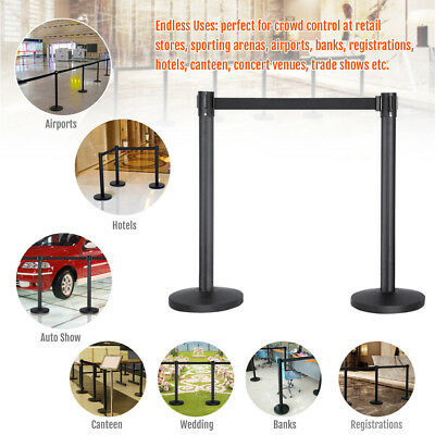2x Black Retractable Crowd Control Belt Stanchion Queue Line Barriers Poles