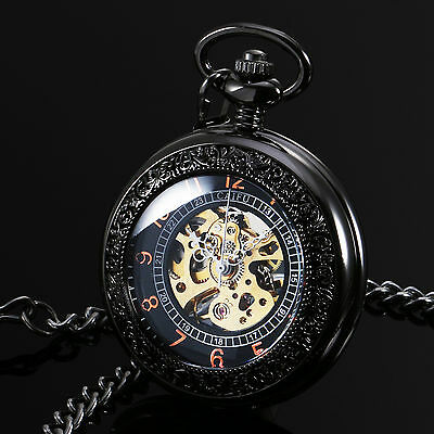 Gold Black Stainless Steel Case Hand Winding Mechanical Mens Pocket Watch Gift