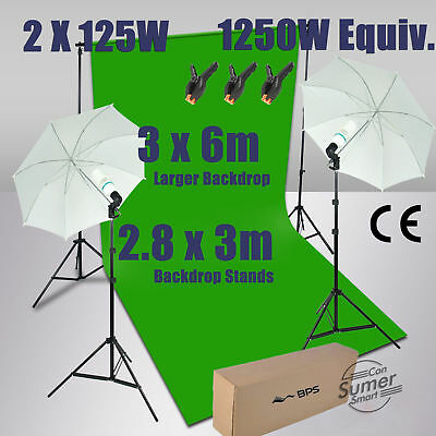 Photo Studio 3*6m Green Backdrop Lighting Kit with Background Support Stand AU