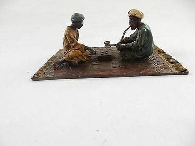 Vienna Cold Painted Bronze Depicting Arab Men Playing Dice Game Signed Namgreb