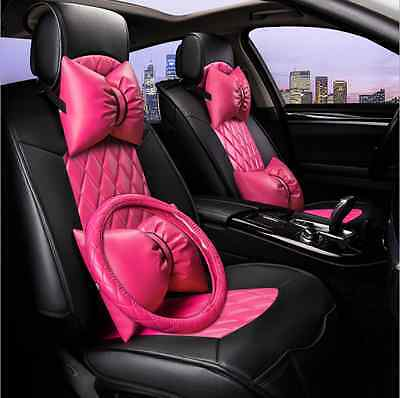 NEW Comfortable PU Leather Car Seat Cushion For All Car +steering wheel cover