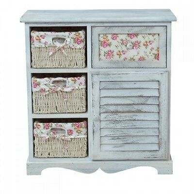 Hall Console Table White Wood Basket Drawers Shabby Chic Cupboard Rustic Cabinet