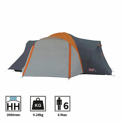 Coleman Cortes 6 Plus Family 6 Man Person Camping Tunnel Tent in Grey/Orange
