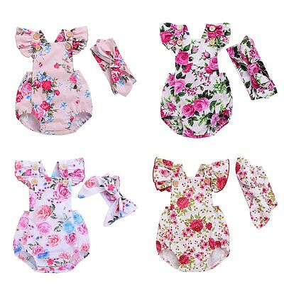Newborn Baby Girl Summer Floral Romper Jumpsuit Bodysuit Headband Clothes Outfit