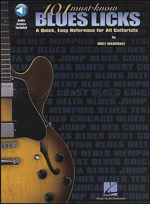 101 Must-Know Blues Licks Guitar TAB Music Book with Audio by Wolf Marshall