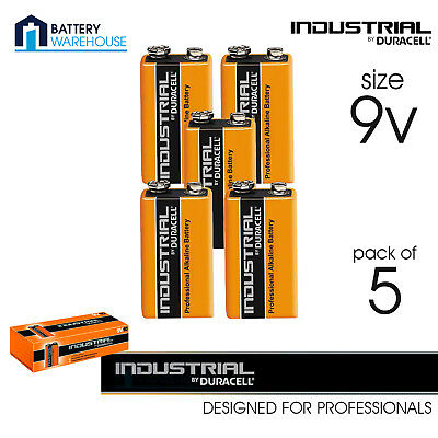 5 x Duracell Industrial Alkaline 9v Battery - Pack of 5 | LR22 MN1604