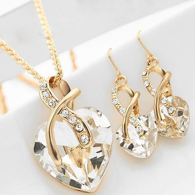 Zircon Wedding Necklace Earrings Love Heart Jewelry Set Gold Chain
