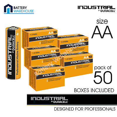 50 x Duracell Industrial Alkaline AA 1.5v Battery | MN1500 Procell LR6