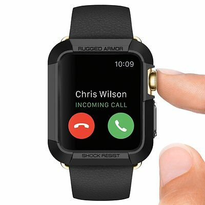 Apple Watch Case 42mm Series 2 and 1 Rugged Armor Cover Shock Absorption Black