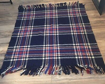 Antique Vintage 100% Wool Carriage Lap Pram Blanket Log Cabin Farmhouse