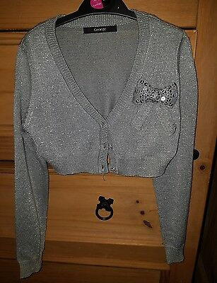 Girls Silver Cardigan 6-7 years