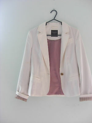 AMERICAN EAGLE Lady S 100%Cotton One Button Business Jacket Blazer Lined White