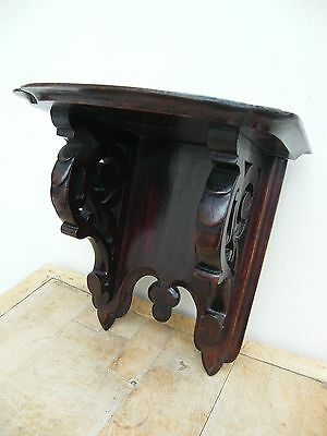 A Large Antique Gothic Victorian Carved Wall Bracket Corbel Shelf