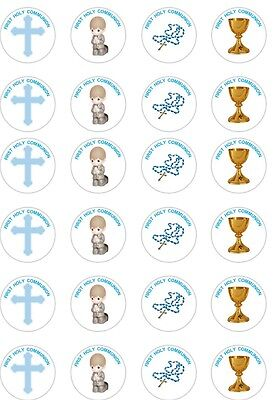 24 x PRECUT BOYS/BLUE FIRST HOLY COMMUNION RICE/WAFER PAPER CUP CAKE TOPPERS