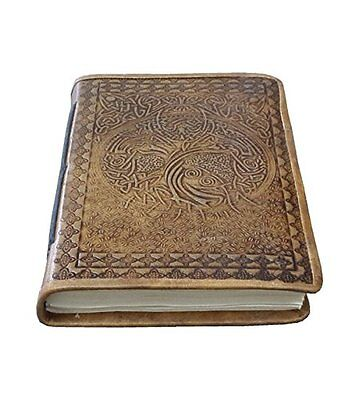 Embossed Handmade Leather Journal Leather Nootbook Diary 7x5 Blank Pages Tanned