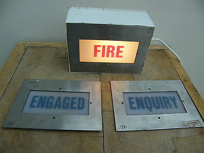 A Reclaimed Vintage Light Lamp Box Fire Engaged Enquiry Industrial Sign