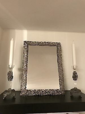 Sterling Silver 925 Table Mirror And Pair Of Candle Holders