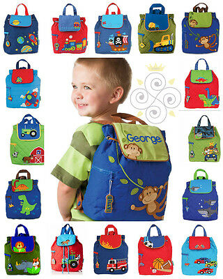 PERSONALISED Stephen Joseph BOYS SCHOOL BACKPACK Holiday / Nursery+FREE KEYRING
