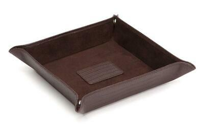 Wolf Blake Teju Lizard Effect Brown Leather Snap Coin Tray