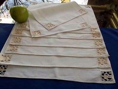 8 Antique Italian Linen Placemats Figural Reticella Hand Needle Lace People Set