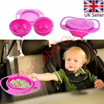 PINK - Rotating Gyro Bowl Avoid Food Spilling Baby Kid Non Spill Feeding Toddler