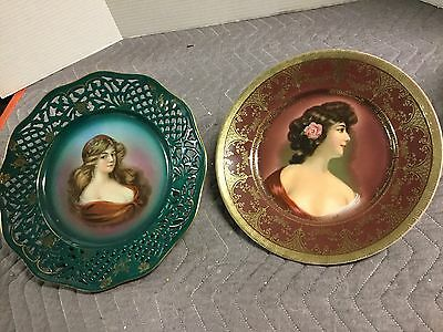2 Signed Portrait Plates Of Beautiful Victorian Ladies. Hand Painted??.