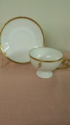 Vintage Bavaria China Cup & Saucer White with Gold Trim