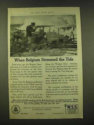 1918 American Telephone and Telegraph Company Ad - When Belgium stemmed the Tide