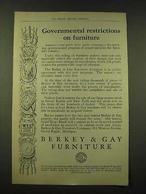 1918 Berkey & Gay Furniture Ad - Governmental restrictions on furniture