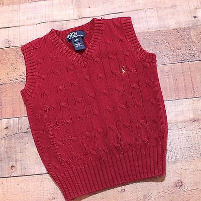 Polo Ralph Lauren Toddler Boys 3T Dark Red Cable Knit Pullover Vest With Logo