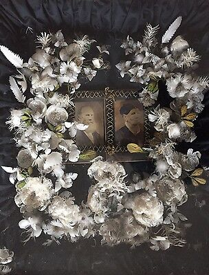 Antique Victorian Mourning wreath shadow box art w/Portraits / Photograph Huge