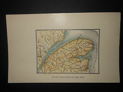 Gaspe Peninsula Canada 1891 Map Hand Colored St. Lawrence River New Brunswick
