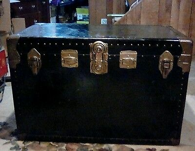 Vintage Black Steamer Trunk!!