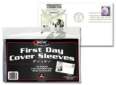 BCW Ultra Thin Sleeves First Day Cover FDC Pack of 100 Postcards Photos US Free