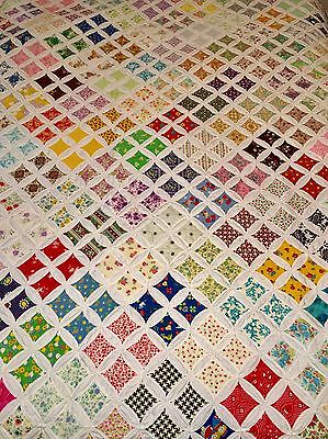 QUEEN Vintage Hand Sewn All Cotton CATHEDRAL WINDOW QUILT In Good Condition