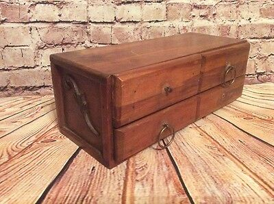 Vintage Four Drawer Small Wooden Trinket Jewel Box Handmade