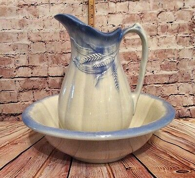 Antique Vintage Wash Basin Bowl and Pitcher Country Blue And White Wheat Pattern