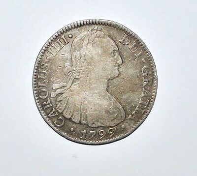 Mexico 1799 - 8 Reales - Silver Mo - Carolus Iiii - Sterling Silver - Bust Type