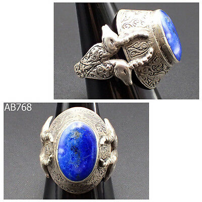 Beautiful Stone Medieval Lapis Deer Stag Head Real Silver Ring 10 US #768
