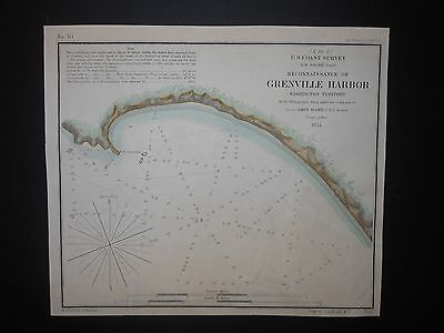 Grenville Harbor Washington Territory 1854 Map Hand Colored