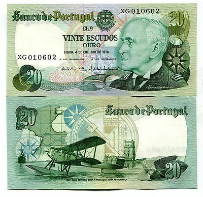 PORTUGAL 20 ESCUDOS 4.10.1978 P-176b UNCIRCULATED